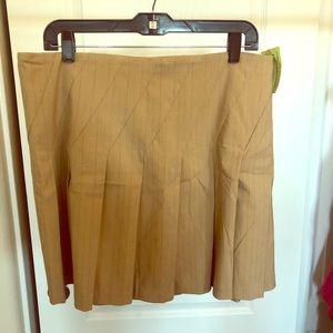 Beautiful tan pin striped pleated skirt